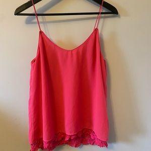 2/$18 Bright Pink / Camisole / Lace Trim